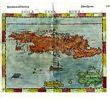 Vintage Map of Cuba (1562) Photographic Print