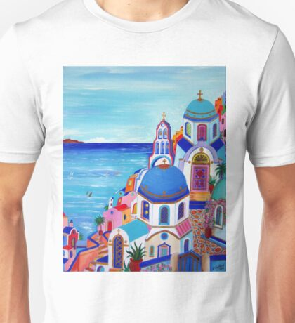 Colorful Oia Santorini Unisex T-Shirt