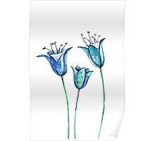 Watercolor blue bellflowers Poster