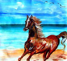 Happy horse running by the beach by Roberto Gagliardi