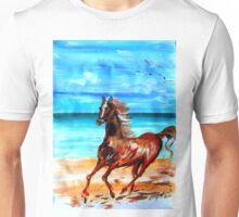 Happy horse running by the beach Unisex T-Shirt