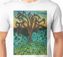 Owls in tree on floral mound Unisex T-Shirt
