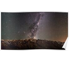Galaxy rising over the remarkables Poster