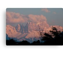 Pretty in Pink: Sunset on the Dolomites Canvas Print