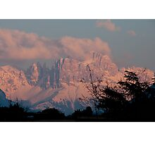 Pretty in Pink: Sunset on the Dolomites Photographic Print