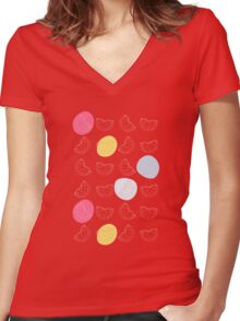 Cute pattern with watermelon   Women's Fitted V-Neck T-Shirt