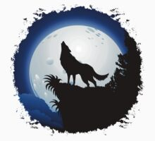 Wolf Howling at Blue Moon Kids Tee