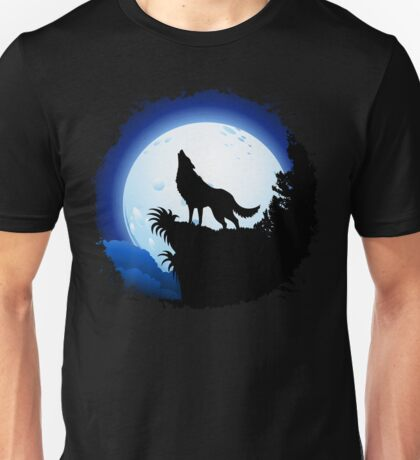 Wolf Howling at Blue Moon Unisex T-Shirt