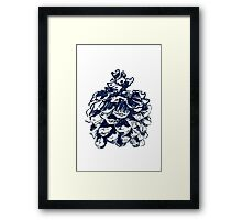 stone pine cone graphic - blue Framed Print