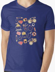 Cartoon traveling elements Mens V-Neck T-Shirt