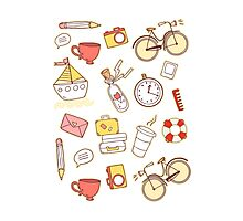 Cartoon traveling elements Photographic Print
