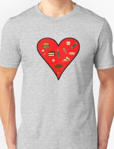 Heart filled with Food Unisex T-Shirt