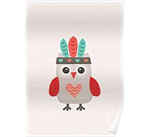 Hipster Owlet Cream Poster