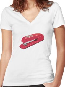 Swingline Red Stapler Pattern Women's Fitted V-Neck T-Shirt