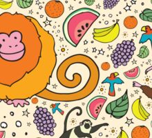 Monkeys and Fruit Sticker