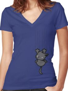 Grab the Cat... again! Women's Fitted V-Neck T-Shirt