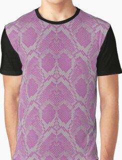 Pink and White Python Snake Skin Reptile Scales Graphic T-Shirt