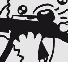army soldat soldier schießen krieg helm kämpfen waffe maschinengewehr baller killerspiel igel süß klein niedlich cool  Sticker