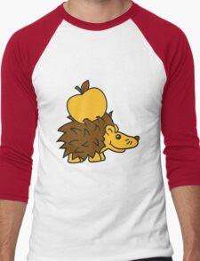apfel lecker essen stacheln baby comic cartoon süßer kleiner niedlicher igel  Men's Baseball ¾ T-Shirt