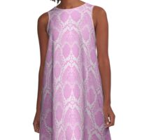 Pale Pink and White Python Snake Skin Reptile Scales A-Line Dress