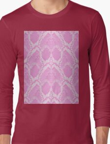 Pale Pink and White Python Snake Skin Reptile Scales Long Sleeve T-Shirt