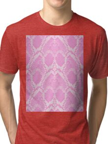 Pale Pink and White Python Snake Skin Reptile Scales Tri-blend T-Shirt