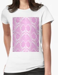 Pale Pink and White Python Snake Skin Reptile Scales Womens Fitted T-Shirt