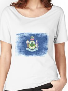 Maine State Flag Distressed Vintage  Women's Relaxed Fit T-Shirt