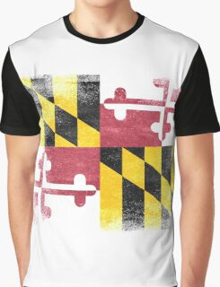 Maryland State Flag Distressed Vintage  Graphic T-Shirt