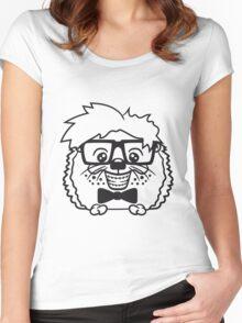 anzug fliege grinsen spange nerd geek schlau dumm intelligent freak lustig frech teenager hornbrille igel comic cartoon  Women's Fitted Scoop T-Shirt