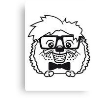 anzug fliege grinsen spange nerd geek schlau dumm intelligent freak lustig frech teenager hornbrille igel comic cartoon  Canvas Print