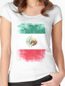 Mexico Flag Proud Mexican Vintage Distressed Women's Fitted Scoop T-Shirt