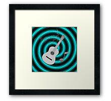 Turquoise & Black Spiral Grey Acoustic Guitar Framed Print