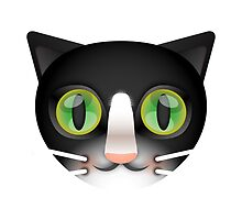 Tuxedo Cat with Green Eyes by marmalademoon