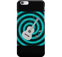 Turquoise & Black Spiral Grey Acoustic Guitar iPhone Case/Skin