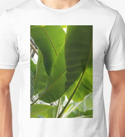 Luscious Tropical Greens - Huge Leaves Patterns - Vertical View Upwards Right  Unisex T-Shirt