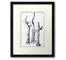antlers graphic - navy blue Framed Print