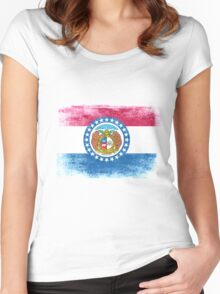 Missouri State Flag Distressed Vintage  Women's Fitted Scoop T-Shirt
