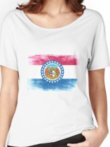 Missouri State Flag Distressed Vintage  Women's Relaxed Fit T-Shirt
