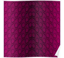 Hot Neon Pink and Black Python Snake Skin Reptile Scales Poster