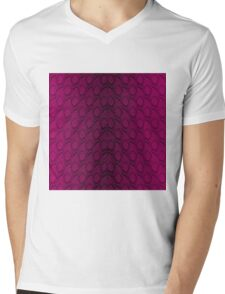 Hot Neon Pink and Black Python Snake Skin Reptile Scales Mens V-Neck T-Shirt