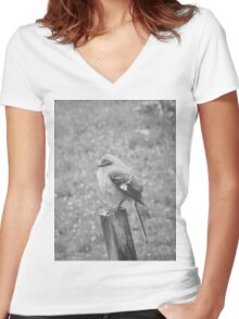 The Bird Black and White Women's Fitted V-Neck T-Shirt