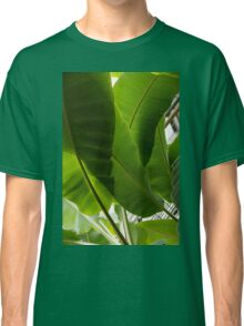 Luscious Tropical Greens – Huge Leaves Patterns – Vertical View Upwards Left Classic T-Shirt