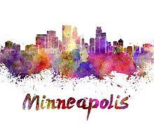 Minneapolis skyline in watercolor by paulrommer