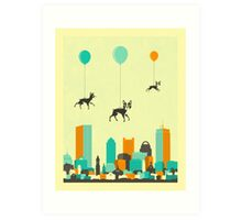 Flock of Boston Terriers Art Print
