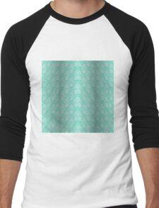 Tiffany Aqua Blue and White Python Snake Skin Reptile Scales Men's Baseball ¾ T-Shirt