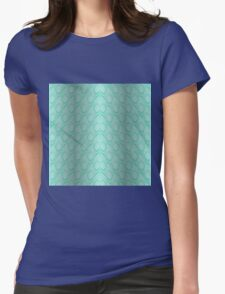 Tiffany Aqua Blue and White Python Snake Skin Reptile Scales Womens Fitted T-Shirt