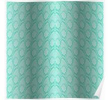 Tiffany Aqua Blue and White Python Snake Skin Reptile Scales Poster
