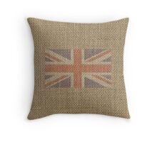 Red White and Blue UK Union Jack British Burlap Flag Throw Pillow