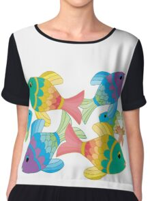 Colorful Fish on a White Background Chiffon Top
